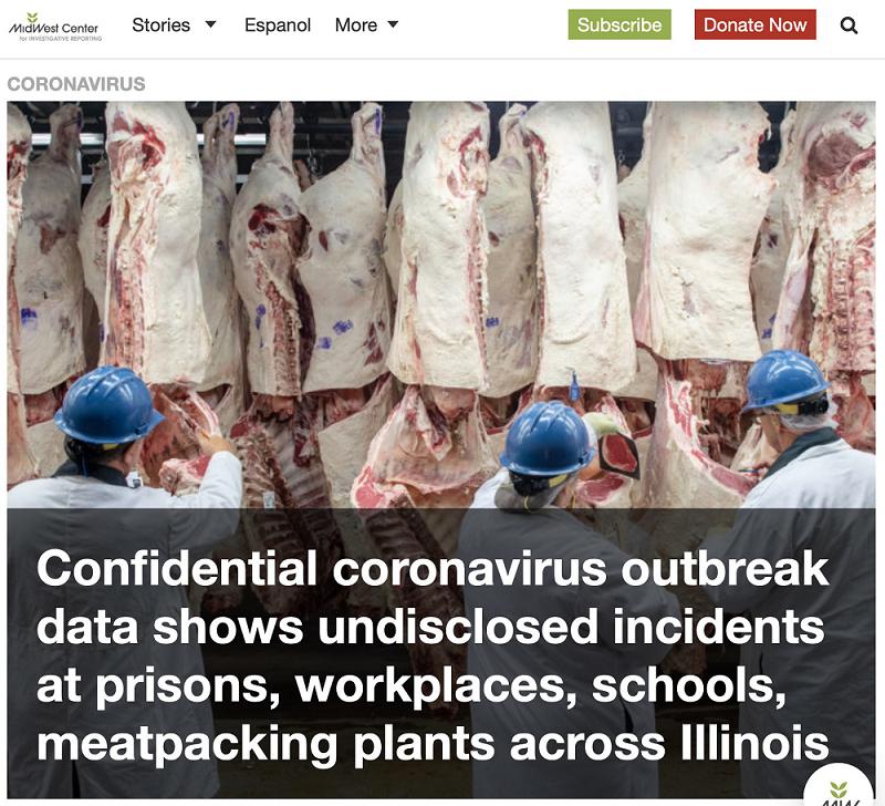 △中西部调查报告中心援引机密数据称,伊利诺伊州各地的监狱、工作场所、学校、肉类加工厂隐瞒了疫情